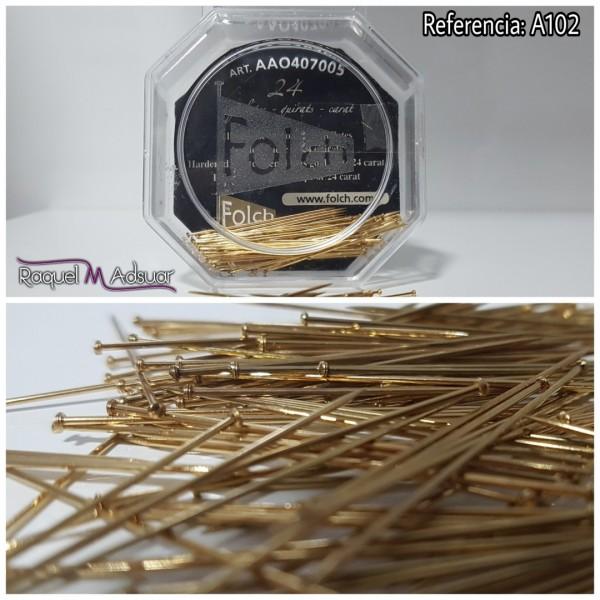 alfileres 40mm oro